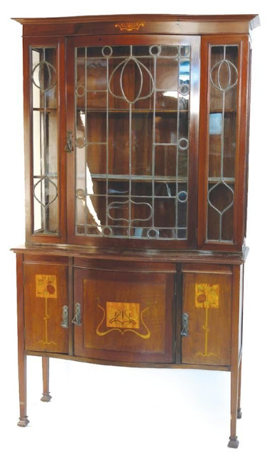 Edwardian walnut display cabinet sideboard