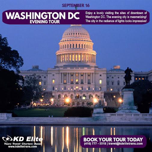 Enjoy a lovely Evening Tour of Washington DC through KD Elite. Explore the beautiful sites of Washington's...
