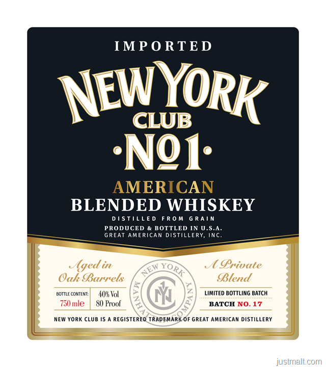 New York CLub No 1 American Blended Whiskey