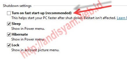 ubuntu how to disable fast start up