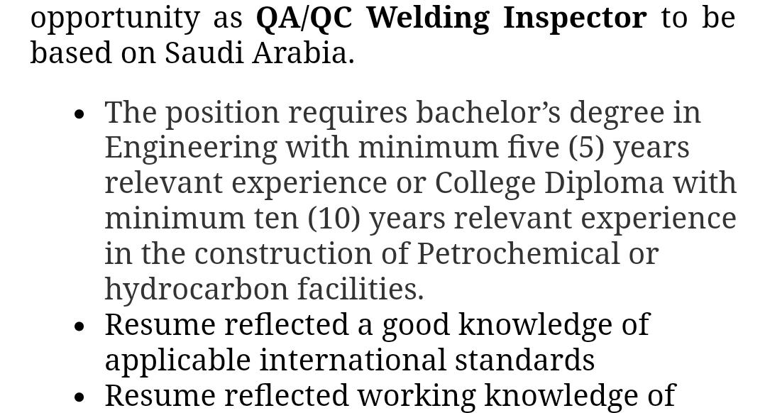 Oil and Gas Jobs: QA/QC Welding Inspectors
