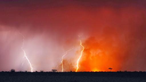 Thunderstorm and Bushfire, Kalahari, Botswana.jpg