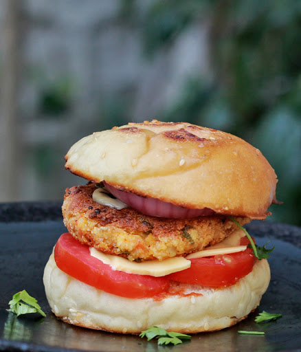 Indian Paneer Burger Recipe with step by step pictures | Learn how to make spicy paneer burgers | Veggie Burgers | Foodomania.com