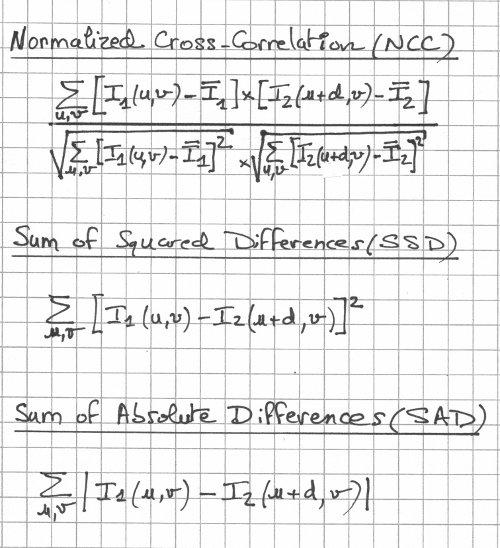 ncc ssd sad matching metrics