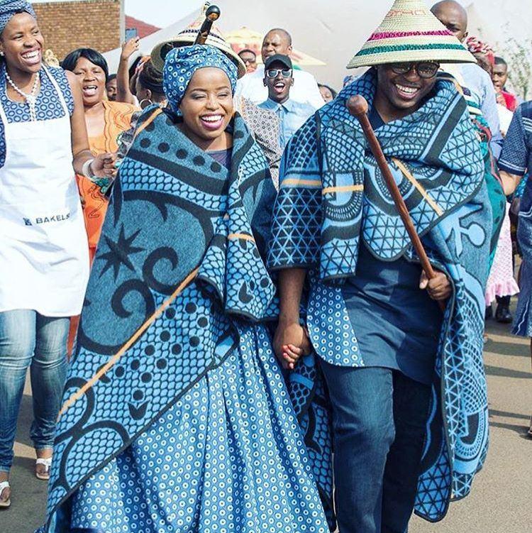 Lesotho bride groom dresses