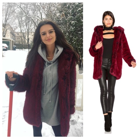 Emily Ratajkowski shovelling snow in red cranberry fur coat