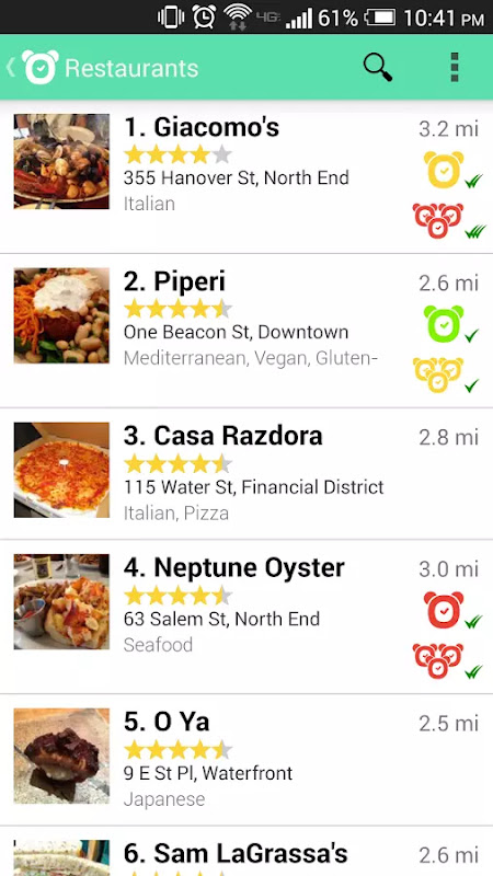 photo of a list of restaurants on the app