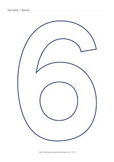 Lámina para colorear y pintar el número seis en color azul