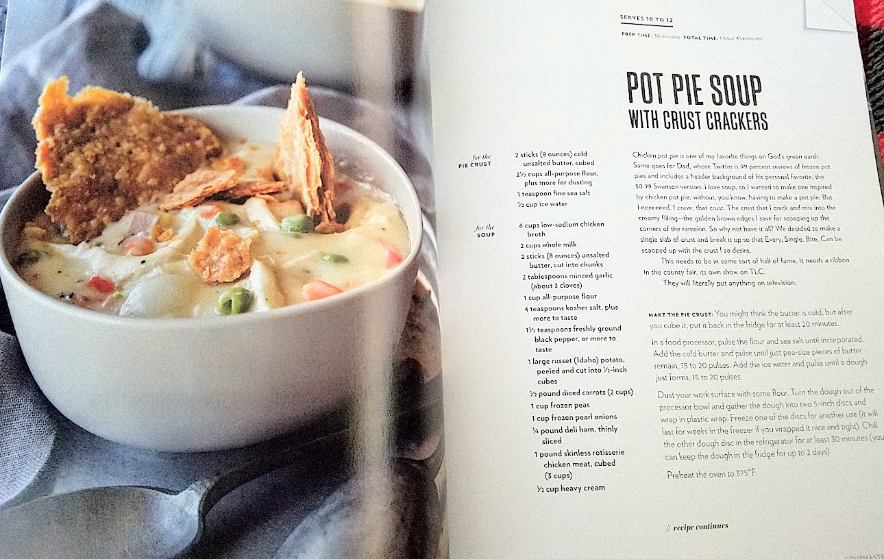 Cravings by Chrissy Teigen cookbook, recipe for Pot Pie Soup with Crust Crackers