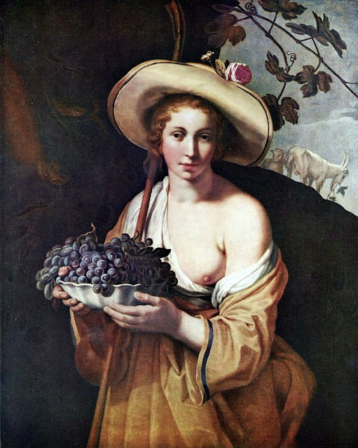 Abraham Bloemaert - Shepherdess with Grapes
