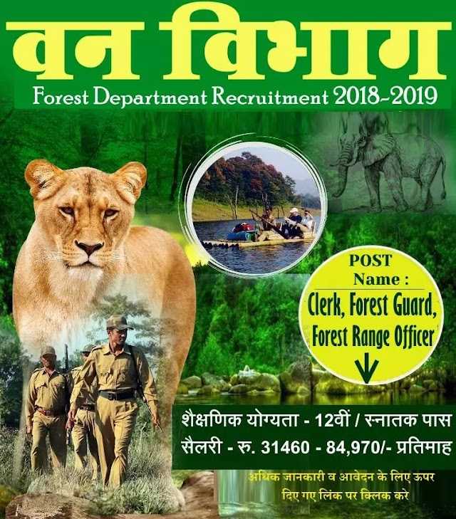 Forest Department Recruitments: 2019 Recruitments / qualifications on the posts of Forest Guard - 12th Pass Eligibility - 18 to 35 years. Salary - Rs.19,500 - 62,000 / - Per m