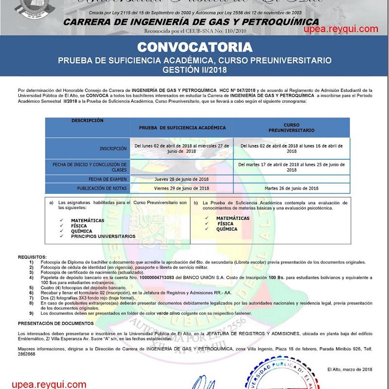 Ingeniería de Gas y Petroquímica UPEA II/2018: Convocatoria para el Curso Preuniversitario y Prueba de Suficiencia Académica