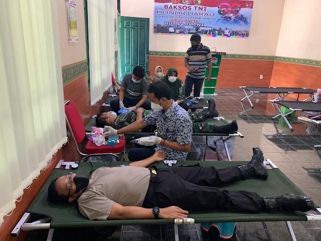 *Sinergitas TNI-Polri Solid, Kapolres Bangkalan Donor Darah Jelang HUT TNI Ke-76*