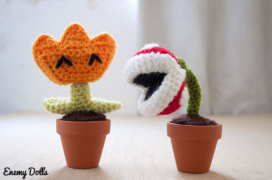 Fire flower and piranha plant, Mario videogames - Enemy Dolls