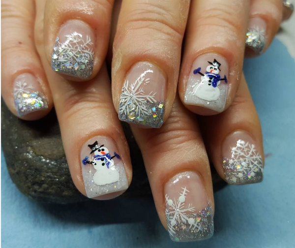 Christmas nail art designs snowman nails 2017 fashionte i absolutely like this abstraction of snow with beautiful face of snowman green christmas timberline accomplish this architecture artlessly fabulous prinsesfo Images