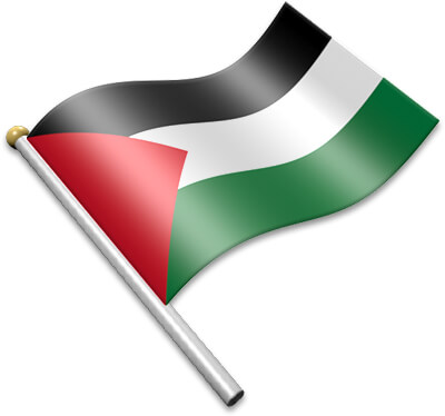 The Palestinian flag on a flagpole clipart image