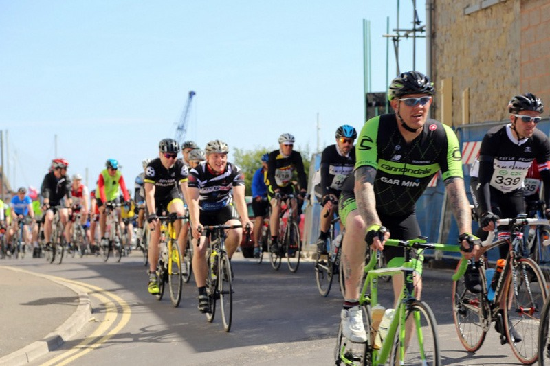 Cyclists at the Somerset town of Watchet, on the Coast to Coast Cycle Challenge