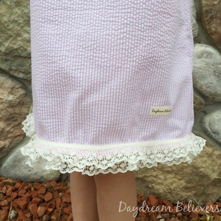 Girls Seersucker Pink and White Classic Ruffle Neck sundress by Daydream Believers Designs 3