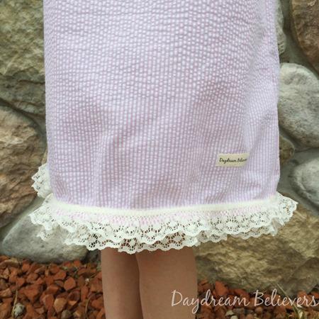 Girls Seersucker Pink and White Classic Ruffle Neck sundress by Daydream Believers Designs 3