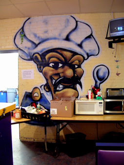 The Day Warming Shelter is located within the former Lussier Teen Center, which is filled with colorful murals.