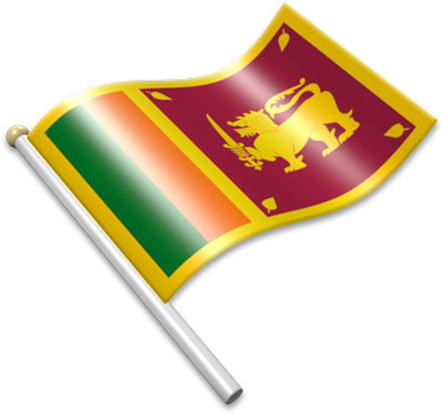 The Sri Lankan flag on a flagpole clipart image