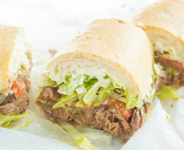 photo of a Hot Roast Beef With Gravy po'boy