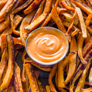Baked Sweet Potato Fries with Sriracha Dipping Sauce.