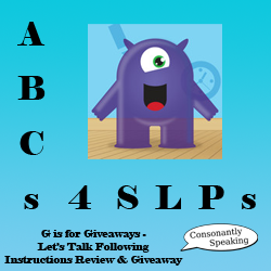 ABCs 4 SLPs: G is for Giveaways - Let's Talk Following Instructions Review and Giveaway image