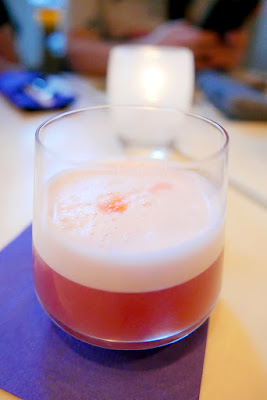 Chefs Week PDX 2/7/16 West Coast 2016 Dinner - Apostrophe cocktail with Gin, Lemon, Wild Roots NW Raspberry Vodka, Egg Whites