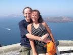 Mar azul en Santorini