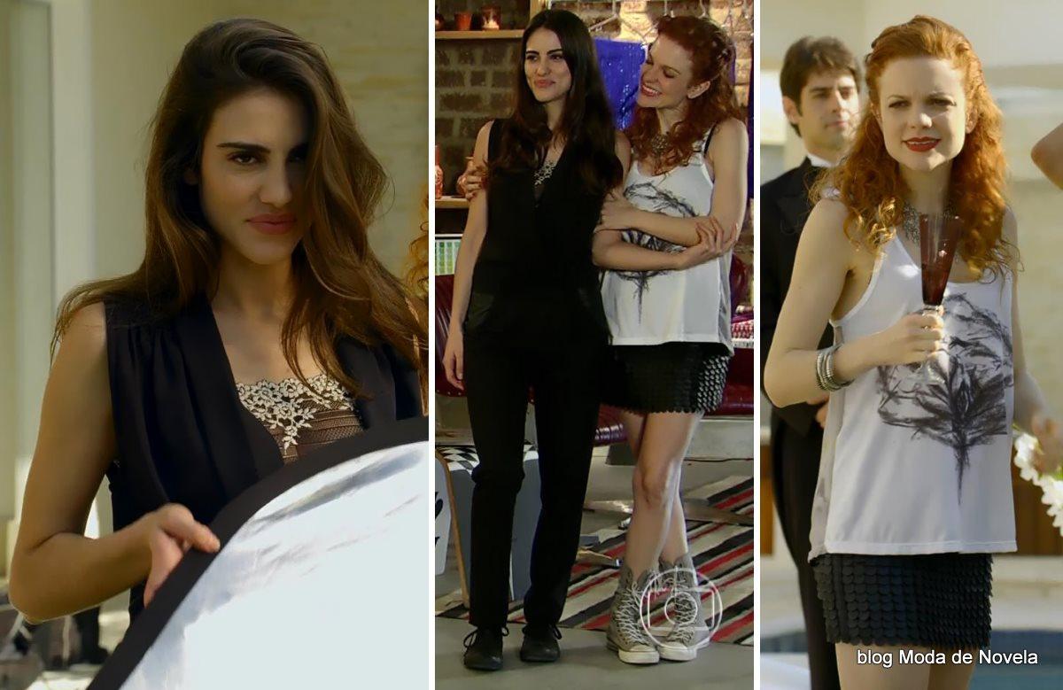 moda da novela Em Família - looks de Flavinha e Vanessa dia 20 de junho