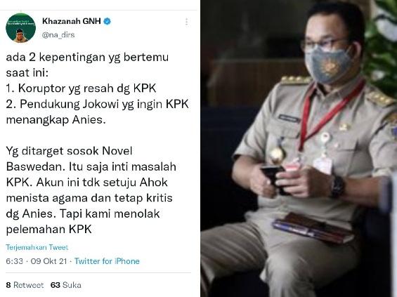 Gus Nadir Bilang Ada Dua Kepentingan Terhadap KPK, Salah Satunya Pendukung Jokowi yang Ingin Anies Baswedan Ditangkap