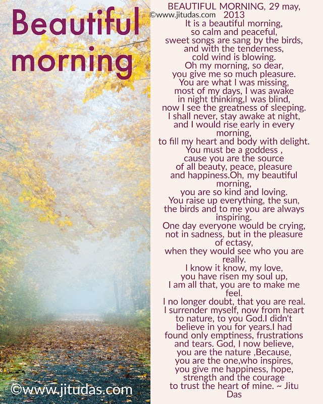 Beautiful morning romantic poem by Jitu Das English poems