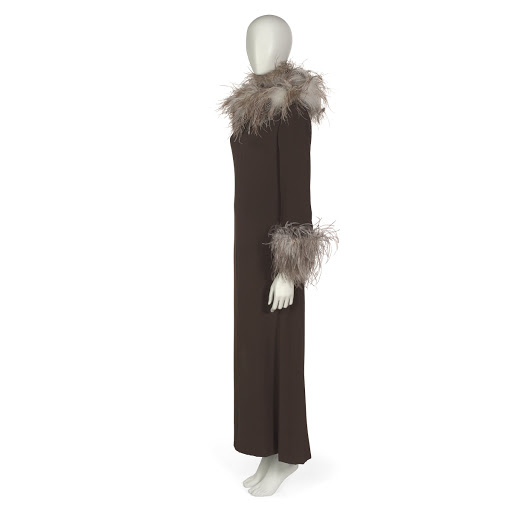 Dinner dress in dark brown silk with separate ostrich feather collar