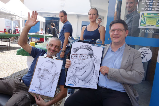Caricaturiste Lyon avec copain david