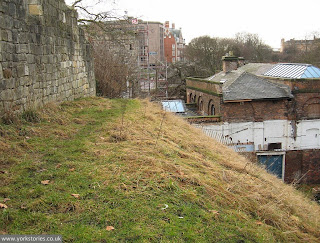 Engine house and city wall, railway offices in the distance, Jan 2011