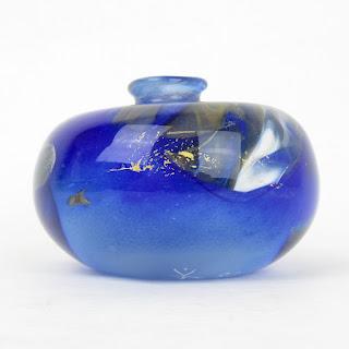 V.B. Signed Art Glass Vase