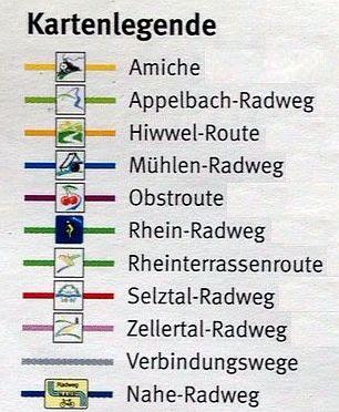 Rheinhessen-Radrouten: Legende zur Karte