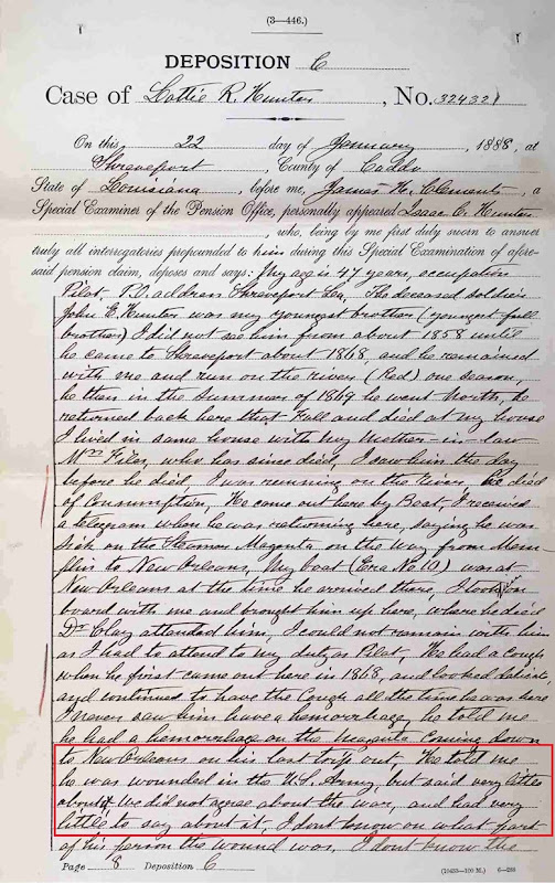 HUNTER_John E_CivilWarPension File 58-annot