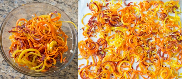 process photo collage of spiralized carrots in a bowl tossed with the seasoning and cheese and another photo showing the carrots on spread out on a baking sheet
