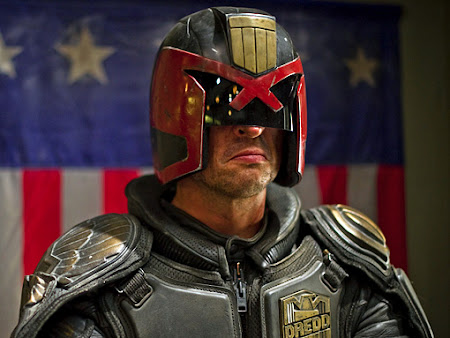 Karl Urban as Judge Dredd. Image copyright Reliance Films