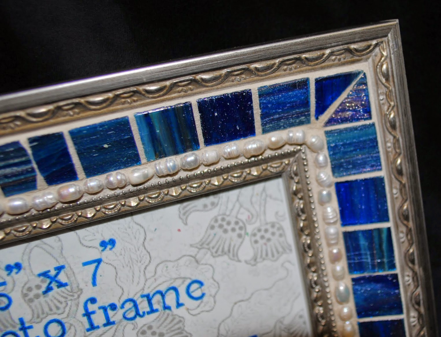 "Deep Blue & Pearls 5"" x 7"" Mosaic Photo Frame MOF1422"