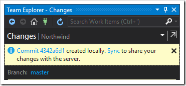 The first commit was created successfully locally. Time to synchronize online.