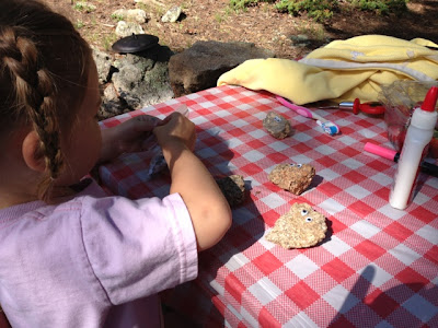 glue and google eyes are great for toddlers to make pet rocks while camping www.thebrighterwriter.blogspot.com