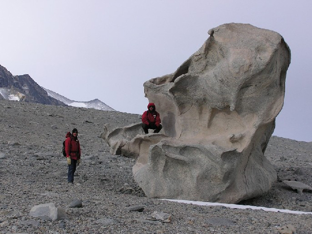 Exploring the ventifacts in the Dry Valleys, 2004-2005 season (photo by A. Chiuchiolo)