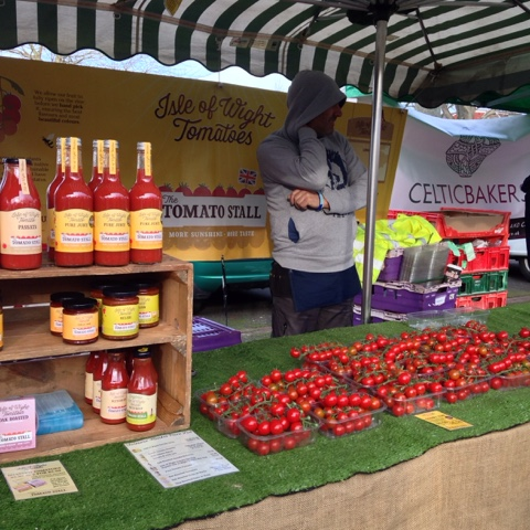 Twickenham Farmers' Market - The Tomato Stall make the most of the Isle of Wight's climate and extra hours of sunshine to bring tomato sauces and rosy tomatoes to the market