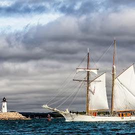 Schooner Passing Wings Neck Lighthouse 2194 by Carl Albro - Transportation Boats ( sailboat, lighthouse, schooner, clouds, boat )