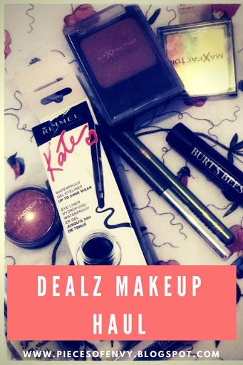 Makeup Haul Dealz Title Graphic showing Rimmel, Max Factor, Burts Bees, Loreal