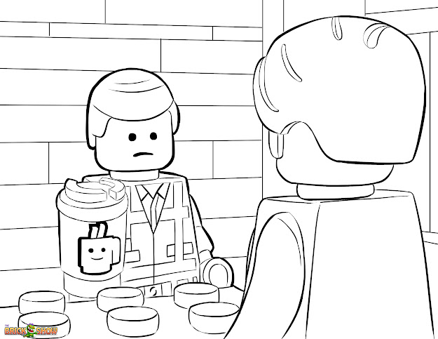 The Lego Movie Coloring Page Lego Emmet Orders  Coffee From Larry The  Barista Printable