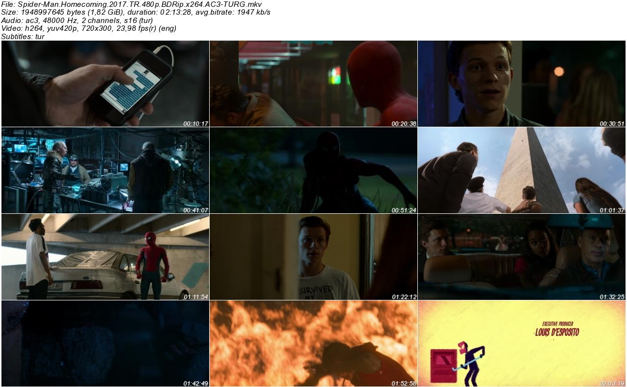 Örümcek-Adam Eve Dönüş 2017 - 1080p 720p 480p - Türkçe Dublaj Tek Link indir